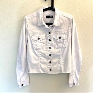 Kut from the Kloth Kara White Denim Fray Jacket